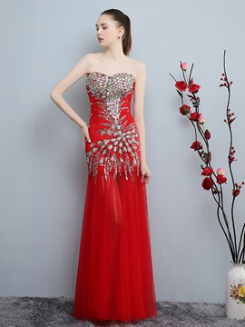 Ericdress Column Sweetheart Crystal Sequins Floor-Length Evening Dress