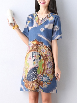 Ericdress Ethic Straight Loose Print Casual Dress