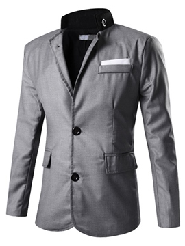 Ericdress Solid Color Stand Collar Casual Men's Blazer