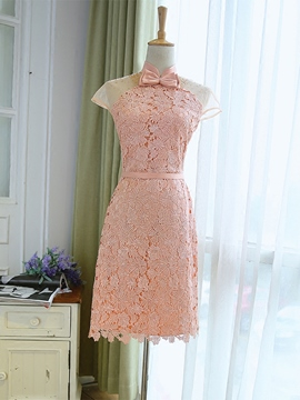 Ericdress High Neck Sheath Cap Sleeves Beading Bowknot Embroidery Lace Homecoming Dress