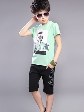 Ericdress Color Block Print Pocket Boys Outfits