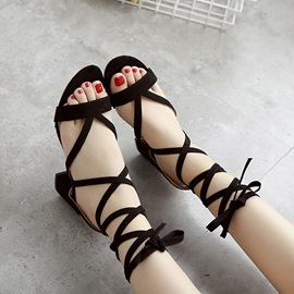 Ericdress Suede Cross Strap Chunky Sandals