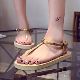 Ericdress Candy Color T Strap Flat Sandals