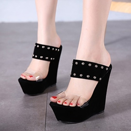 Ericdress Roman Rivets Wedge Mules Shoes