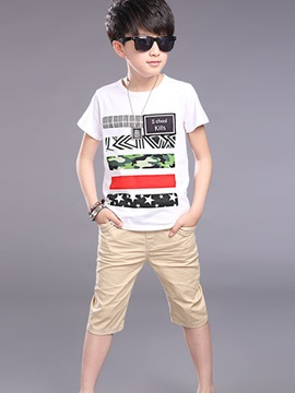 Ericdress Color Block Print Casual Boys Outfits