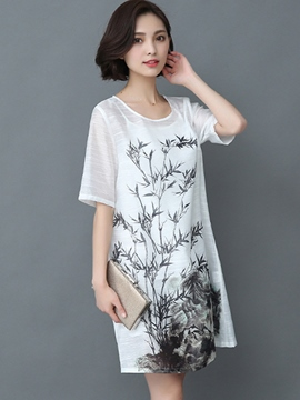 Ericdress Loose Plant Print Short Sleeve Casual Dress