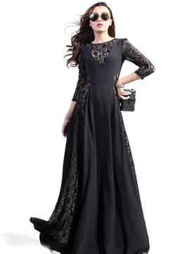 Ericdress Prom Lace Patchwork Floor-Length Long Maxi Dress