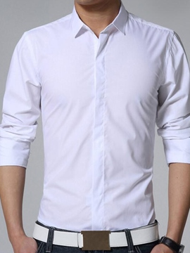 Ericdress Solid Color Basic Simple Long Sleeve Men's Shirt