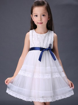 Ericdress Sleeveless Solid Color Girls Dress