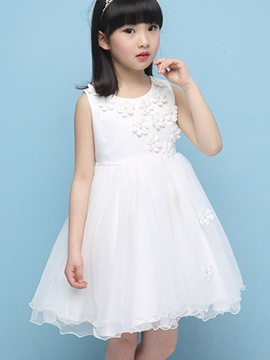 Ericdress Solid Color Pleated Falbala Girls Dress
