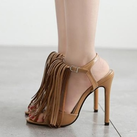 Ericdress Elegant Tassels T Strap Stiletto Sandals