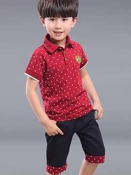 Ericdress Polka Dots Lapel Patchwork Boys Outfits
