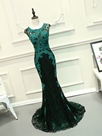 Ericdress Mermaid Scoop Cap Sleeves Appliques Lace Court Train Evening Dress