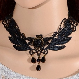 Hollowed Out Black Lace Necklace