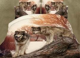 Ericdress Couple Wolves Hanging Print Bedding Sets