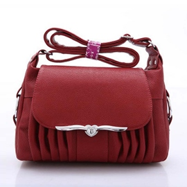 Ericdress Leisure Solid Color Wrinkle Crossbody Bag