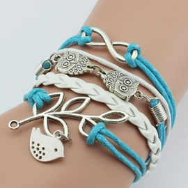 Blue Owl Branches Multilayer Bracelet