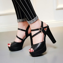 Ericdress Simple Peep Toe Chunky Sandals