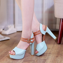 Ericdress Sexy Patchwork Peep Toe Chunky Sandals