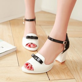 Ericdress Sweet Bowtie Patchwork Peep Toe Chunky Sandals