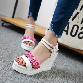 Ericdress Candy Color Flower Wedge Sandals