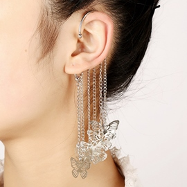 Butterflies Tassel Long Ear Cuff