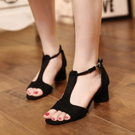 Ericdress Suede T Strap Chunky Sandals