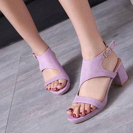 Ericdress Open Toe Buckle Suede Plain Chunky Sandals