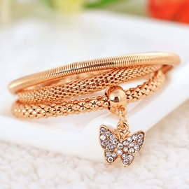 Three Color Optional Butterfly Pendant Alloy Bracelet