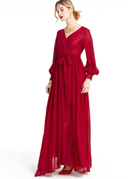 Ericdress Prom Lantern Sleeve Soild Color Lace-Up Maxi Dress