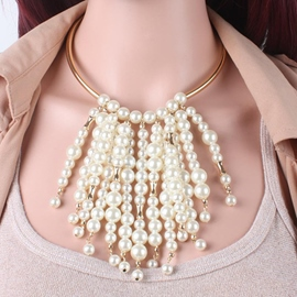 Multilayer Pearl Tassel Jewelry Set