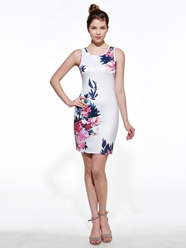 Ericdress Sexy Sleeveless Print Bodycon Dress