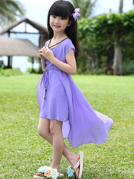 Ericdress Solid Color Asymmetric Girls Dress