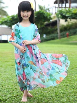 Ericdress Sleeveless Print Girls Beach Dress