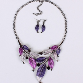 Leaves Drip Modelling Color Jewelry Set