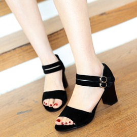 Ericdress Simple Suede Chunky Sandals