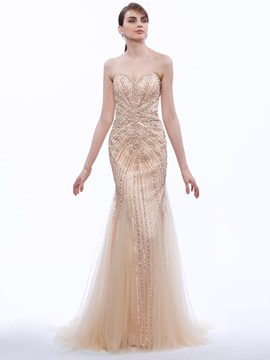 Ericdress Trumpet Sweetheart Beading Sequins Court Train Evening Dress