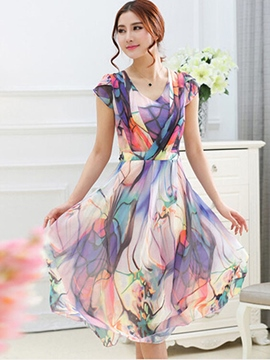 Ericdress Ladylike Expansion Print Short Sleeve Casual Dress