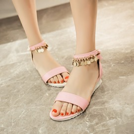 Ericdress Candy Color Metal Tassels Flat Sandals