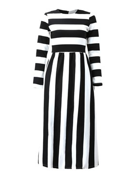 Ericdress Stripe Patchwork Maxi Dress