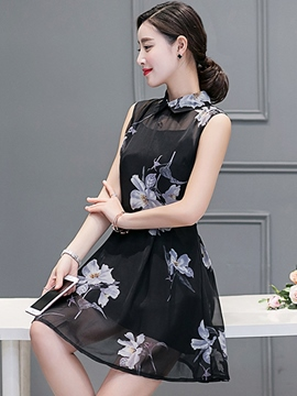 Ericdress Peter Pan Collar Sleeveness Casual Dress