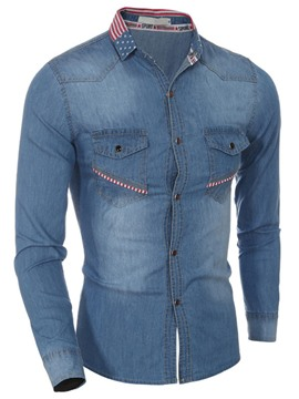 Ericdress Denim Slim Pocket Men's Shirt