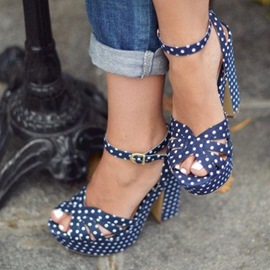 Ericdress Dots Peep Toe Chunky Sandals