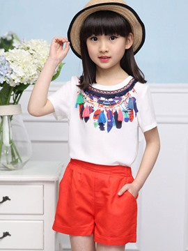 Ericdress Short Sleeve Ethnic Girls Outfit