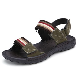 Ericdress Striped PU Velcro Men's Sandals