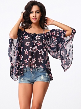 Sisjuly Loose Printed Floral Off-Shoulder Blouse