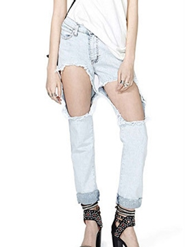 Ericdress Casual Hole Jeans