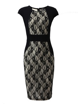 Ericdress Lace Patchwork Short Sleeve Sheath Dress