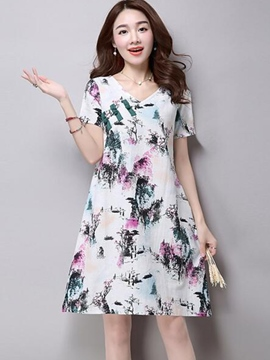 Ericdress Ethic Pastoral Loose Print Casual Dress