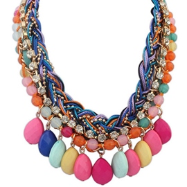 Bohemia Multilayer Twist Weave Drop Pendant Necklace